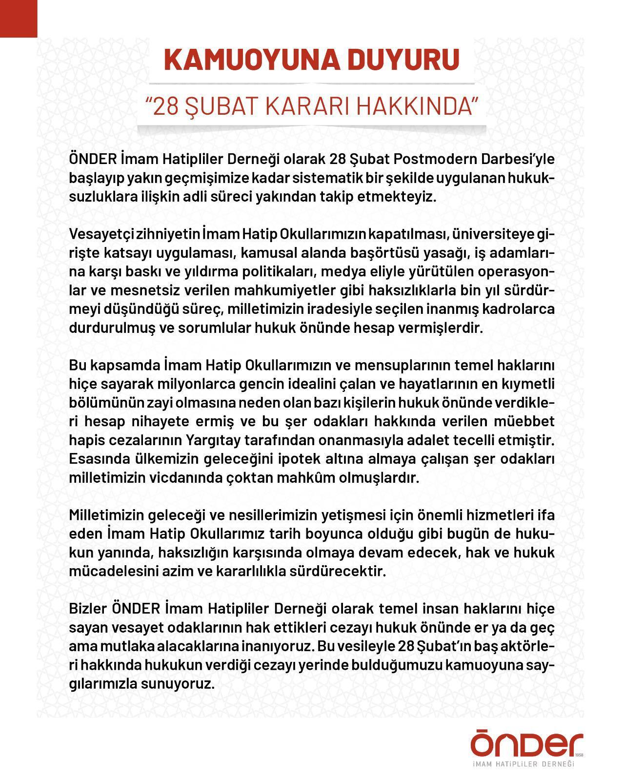 BAŞKAN KARA'DAN YARGITAY KARARINA DESTEK